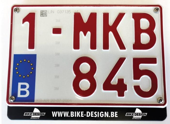 Nummerplaatkader - motorfiets -  aluminium zwart - 1 kleur bedrukt - vanaf 100 stuks, kies een hoeve