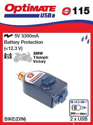 TM-o115 - Universele dubbele USB lader met DIN aansluiting - weerbestendig - 3300mA